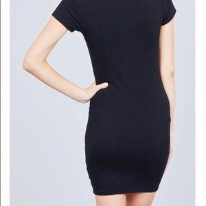 Dresses - Black V Neck Fitted Tee Dress